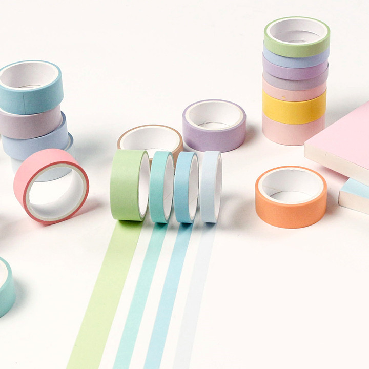 12 Colors/pack Macaron Color Washi Tape Set Decorative Craft Adhesive Tape DIY Scrapbooking Sticker Label Masking Tape