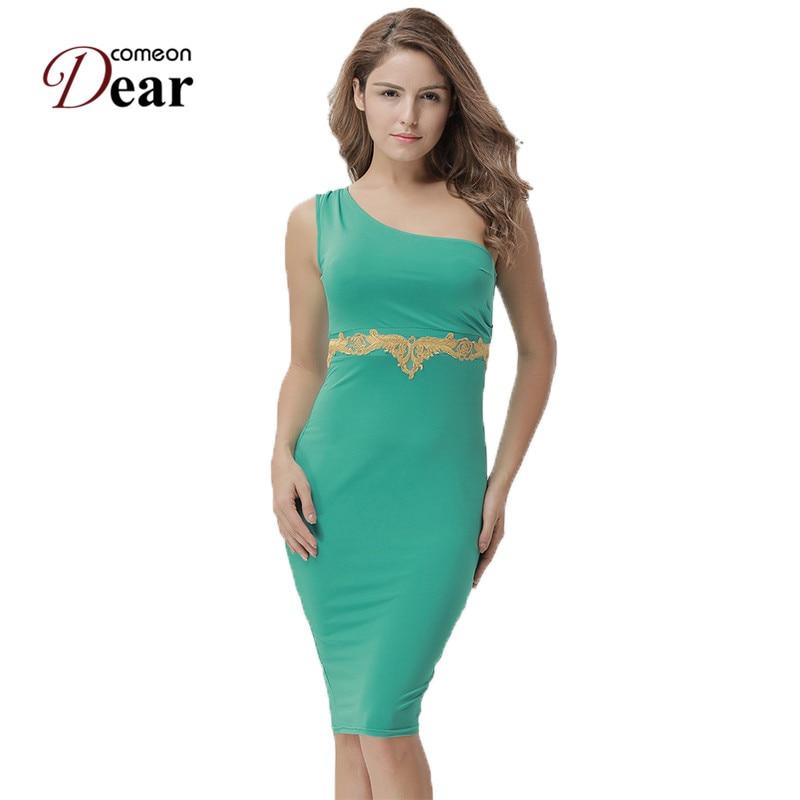 Comeondear RA80484 Green Bodycon Sheath Elegantní šaty - Dámské oblečení