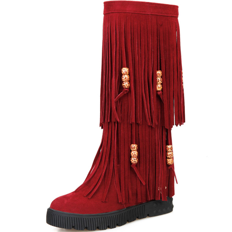 Aliexpress.com : Buy Hot 3 Layers Fringe Boots 2016 Low Heel ...