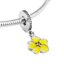 Fits for Pandora Charms Bracelets Poetic Blooms Beads with Pale Yellow Enamels 100% 925 Sterling-Silver-Jewelry Free Shipping