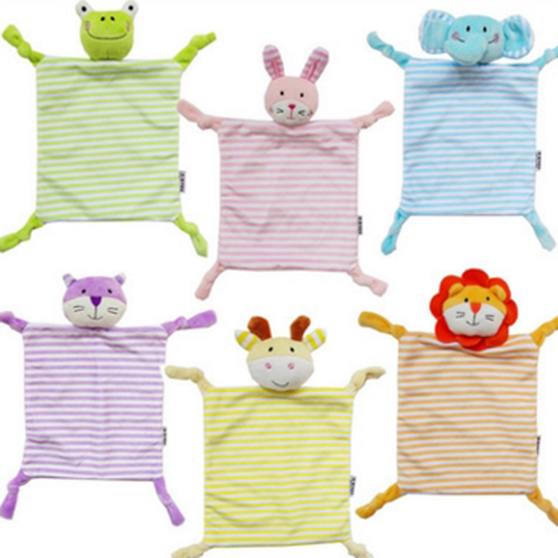 Newborn Toddler Kids Plush Towel Toy Cartoon Cat Rabbit Animal Rattle Toy Baby Sleeping Newborn Stuffed Dolls Comfort Towel