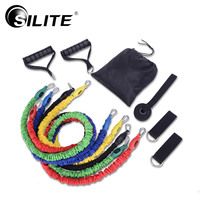 SILITE Resistance Bands 11pcs/Set Cloth Cover Fabric Fitness Equipments Pull Rope Workout Crossfit Latex Pilates Training Rubber