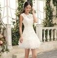 Новый 2016 Короткие Свадебные платья Белый Красный Женщины Свадьбы Формальные Платье Невесты Кружева Платья Партии Платья Платье De Noiva Курто