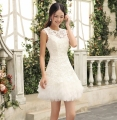 New 2016 Short Wedding dresses White Red Women Wedding Formal Dress Bride Lace Dresses Party Gowns Vestido De Noiva Curto