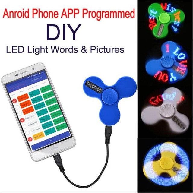 В наличии Smart LED Спиннеры Flash Слова комплект на Android приложение USB зарядка подарок Игрушечные лошадки штатив Камера Аксессуары