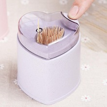 4 Color Heart Style Wheat Straw Toothpick Holder Creative Home Automatic Plastic