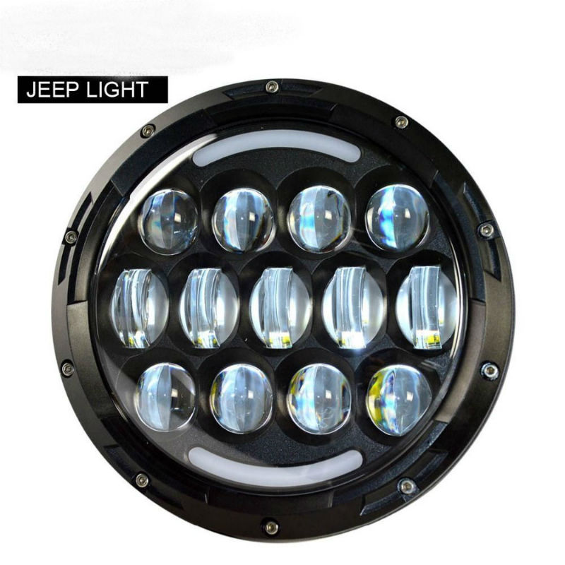 2PCS 7Inch Round LED Halo Projector Headlight with DRL Amber Turn Light for Jeep Wrangler CJ JK LJ CJ Hummer