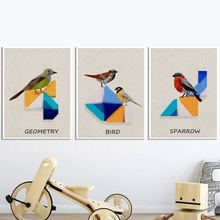 Abstract Geometry Bird Sparrow Wall Art Canvas Painting Nordic Posters And Print Animal Pictures For Living Room Home Decor