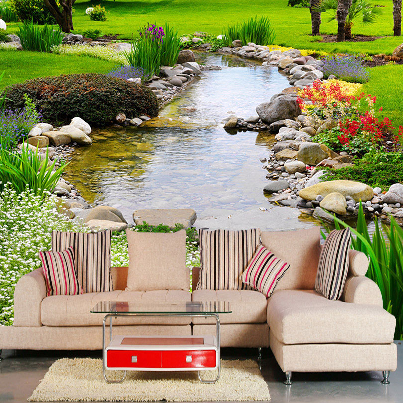 High Quality Modern 3D Mural Wallpaper Rill Scenery Flowers And Plants Photography Background Living Room TV Backdrop Wallpaper