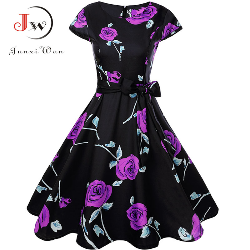 Print Summer Dress Women  Floral Cap Sleeve Vintage Dress With Belt Elegant Robe Rockabilly Party Dresses Sundress Plus Size