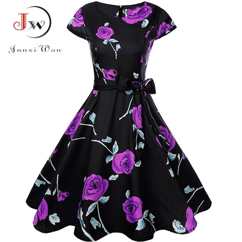 Print Summer Dress Women  Floral Cap Sleeve Vintage Dress With Belt Elegant Robe Rockabilly Party Dresses Sundress Plus Size