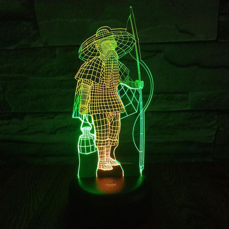 Fisherman Led 3d Colorful Nightlight Creative Visual Touch Charging Atmosphere Gift 3d Lamp Powerbank Letter Light
