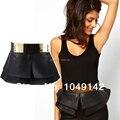women apparel accessories 2014 new gold metal mirror face cummerbund black pu leather ultra wide waist belts