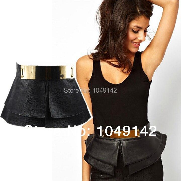 Women Apparel Accessories Gold Metal Mirror Face Cummerbund Black Pu Leather Ultra Wide Waist Belts