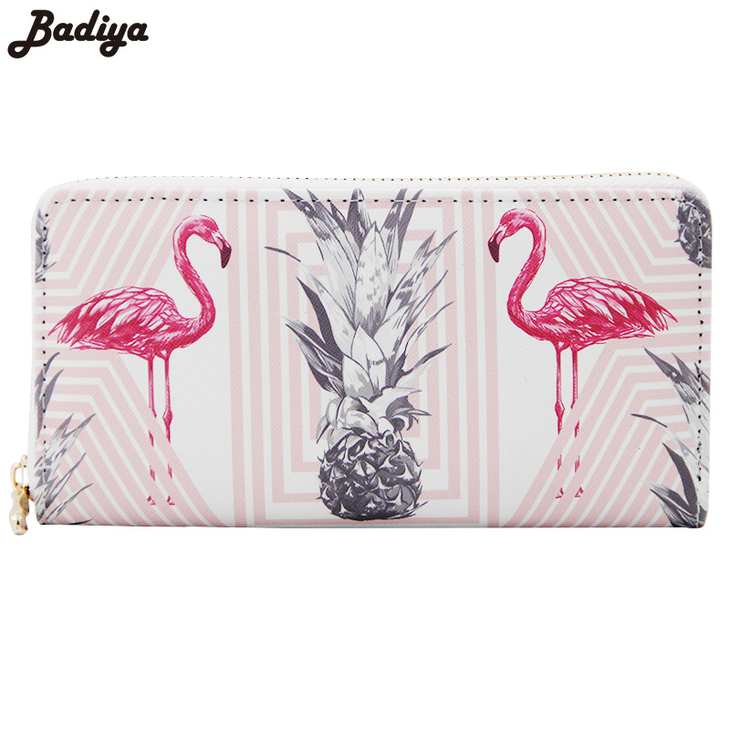 New Lovely Flamingo Print Fashion Women Long Wallet Large Capacity Clutch Purse With Phone Bag PU Leather Ladies Wallets fashion flamingo floral print women long wallet large capacity clutch purse phone bag pu leather ladies card holder wallets