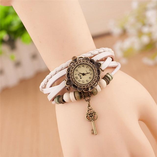 Fashion Leather Bracelet Watch Women Casual Dress Vintage Leaf Beads Wristwatch