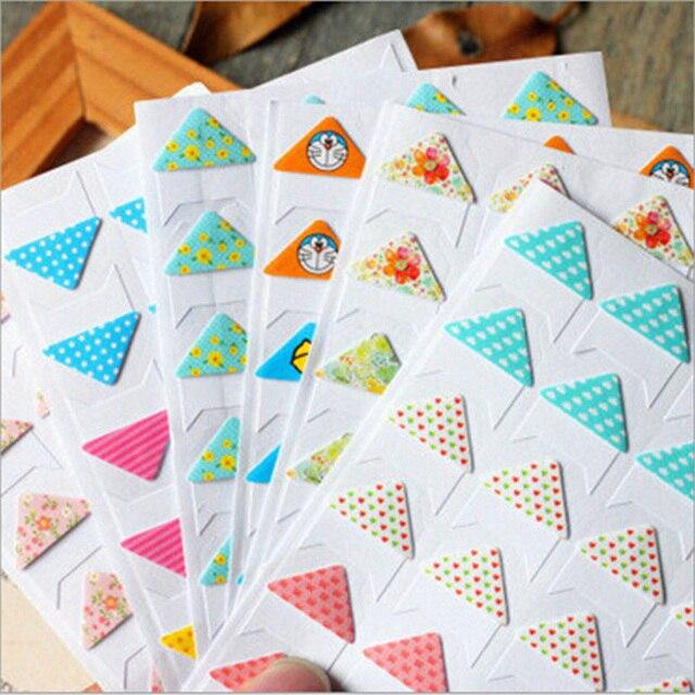 2 hojas/porción de corea floral ángulo álbum etiqueta engomada diy photo sticker decal sticker esquina docoration kawaii papelería