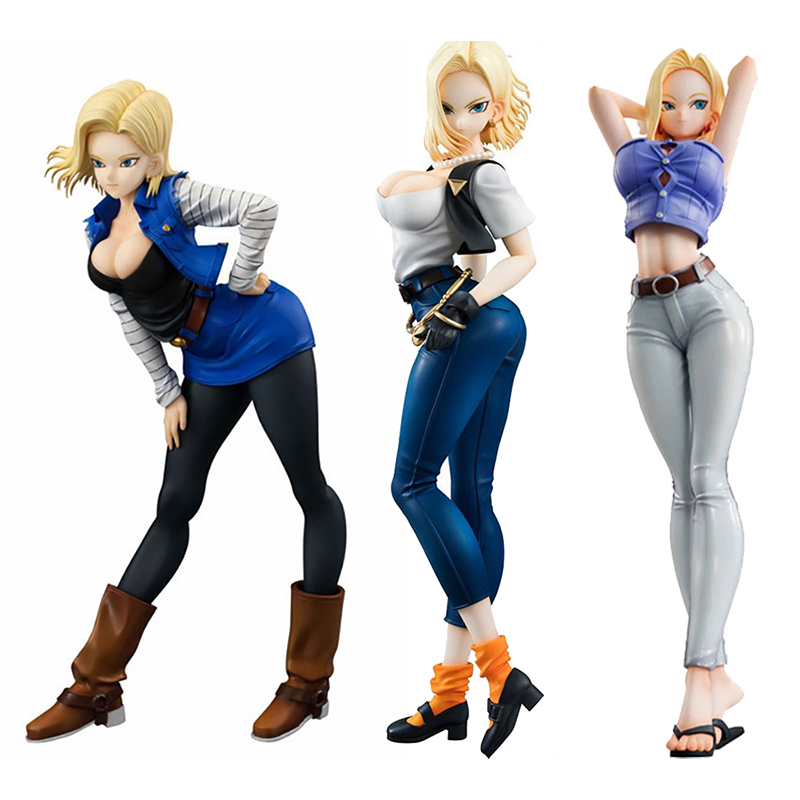 3 Type <font><b>Sexy</b></font> Anime <font><b>Android</b></font> <font><b>18</b></font> Lazuli no.<font><b>18</b></font> PVC <font><b>figure</b></font> <font><b>Collectible</b></font> Model Dolls Brinquedos Gift image