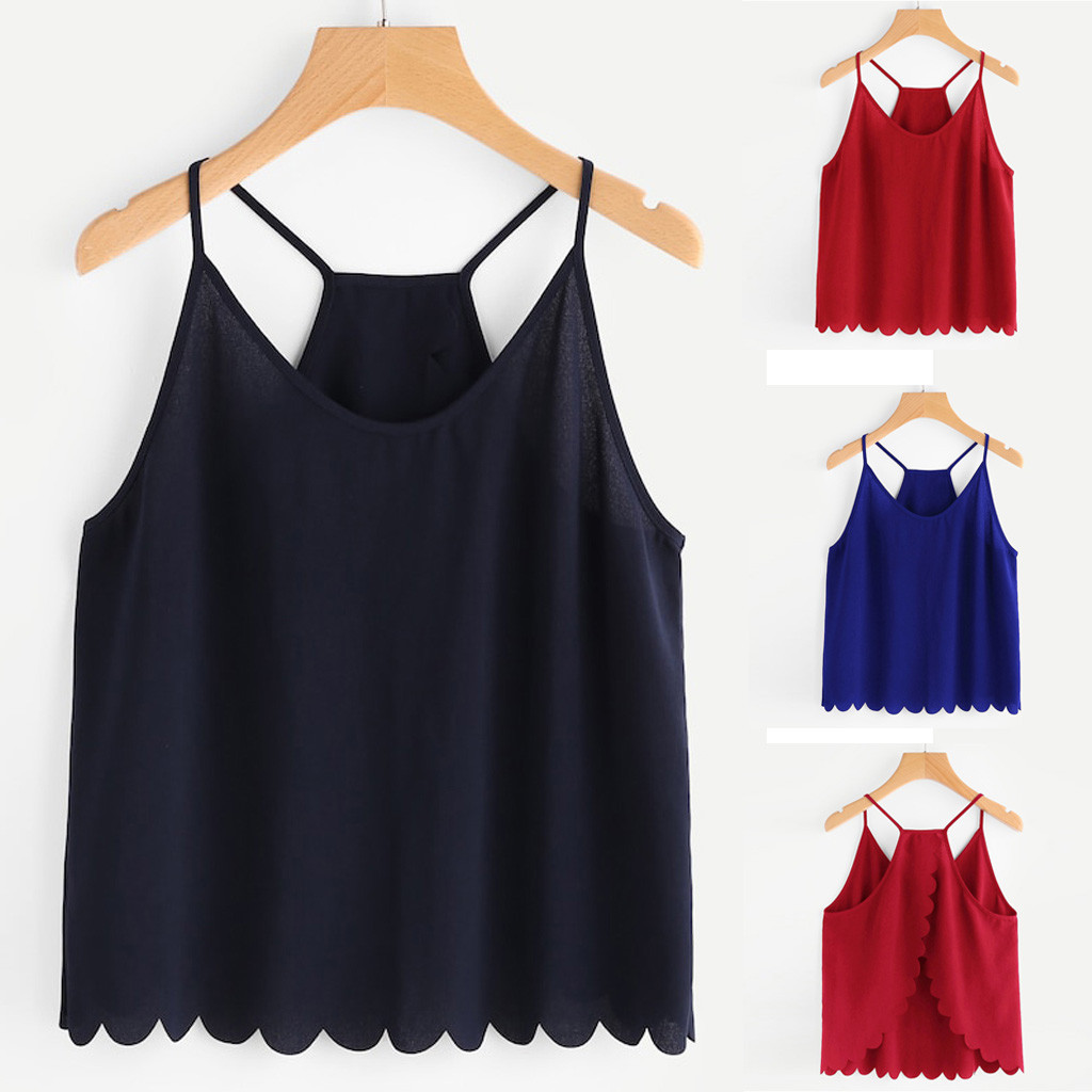 100% Wahr 2019 Mode Frauen Casual Camis Ärmel V-ausschnitt Überlappung Zurück Scallop Hem Crop Tops Halter Top Top Verano Mujer