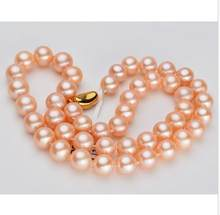 elegant 10-11mm south sea round gold pink pearl neclace 18inch 925s(China)