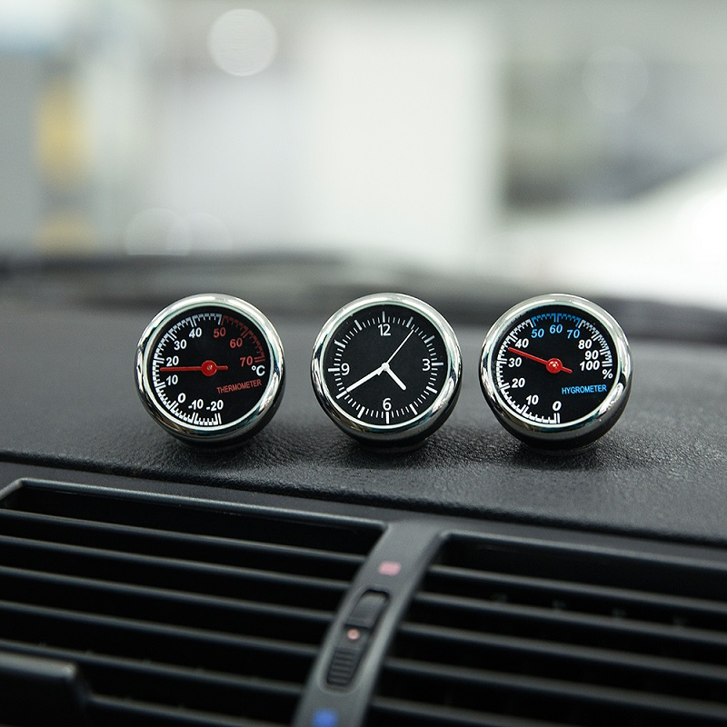 Image 5 - Car Mini Automobile Digital Clock Auto Watch Automotive Thermometer Hygrometer Decoration Ornament Clock In Car Accessories-in Ornaments from Automobiles & Motorcycles