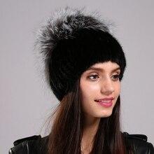 Реального норки skullies cap Новая женщина меховая шапка Зима теплая эластичный сеть вязать шляпу Супер гребень Мех Silver Fox Помпоном Мяч Моды cap