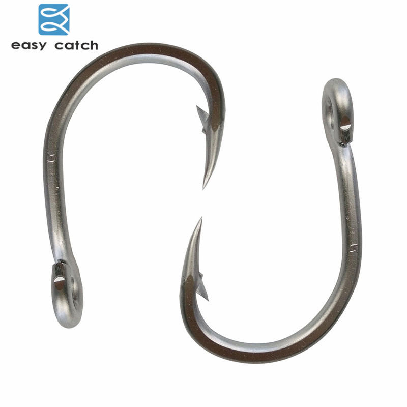 Easy Catch 100pcs 10884 Stainless Steel White Strong Big Game Fish Tuna Bait Fishing Hooks Size 3/0 4/0 5/0 6/0 7/0 8/0 9/0 10/0