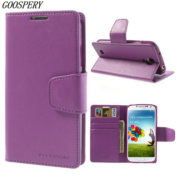 For Samsung S4 Case Mercury Goospery Sonata Diary Wallet Stand Leather Flip Case Cover for Samsung Galaxy S4 i9500 I9502 I9505