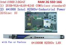 High performance 1U router server / firewall server with J1900 2.0GHz 4*82583V 1000mbps Lans RAM 2G SSD 16G
