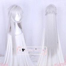 Siyah Butler Kuroshitsuji Altında Alıcı Taahhüt 110 cm Uzun Gümüş Renk Isıya Dayanıklı Saç Cosplay Kostüm Peruk + Ücretsiz Peruk kap