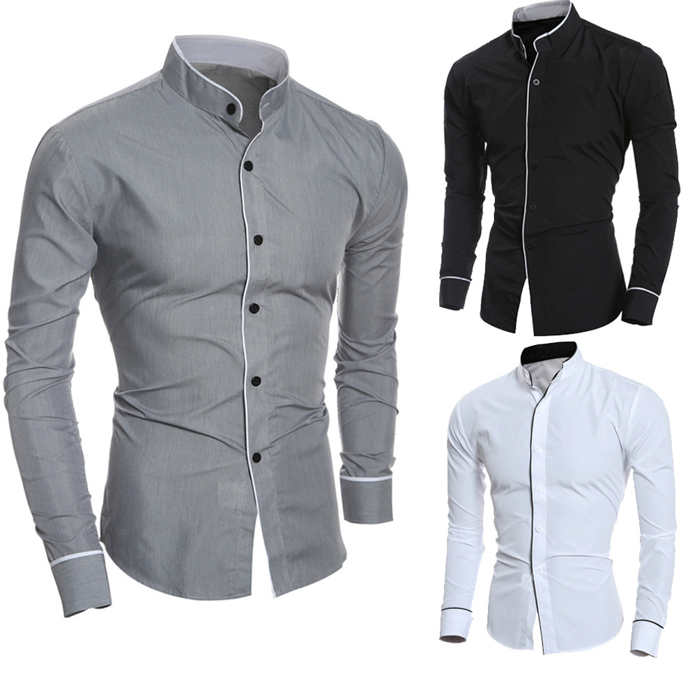 Men's Shirt Top-Blouse Long-Sleeve Fashion Men Slim Casual Solid Tops Personality