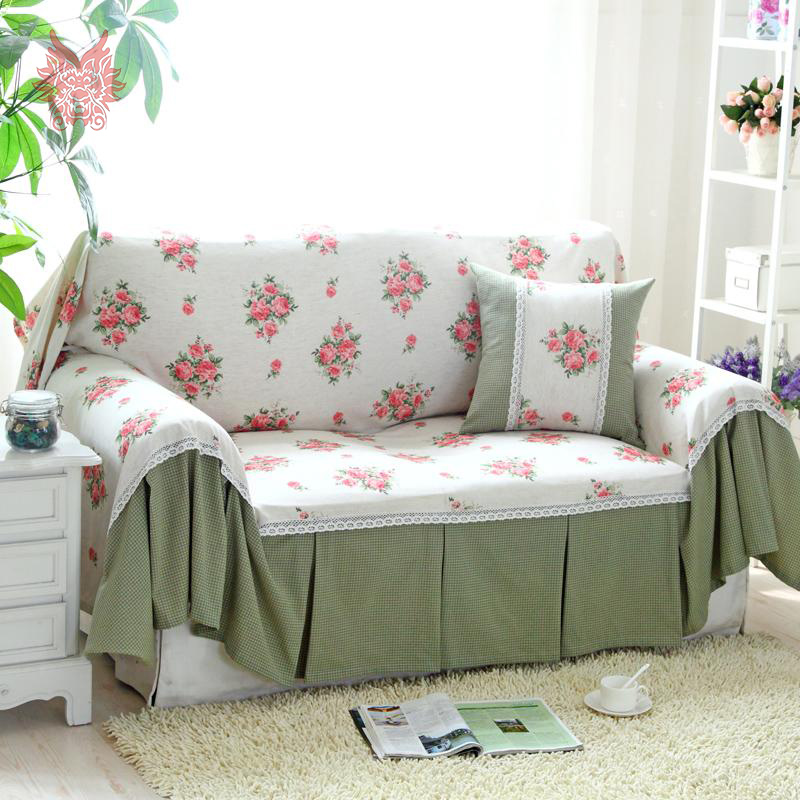 Cotton linen canvas sofa cover pastoral style green pink for Canape sofa cover
