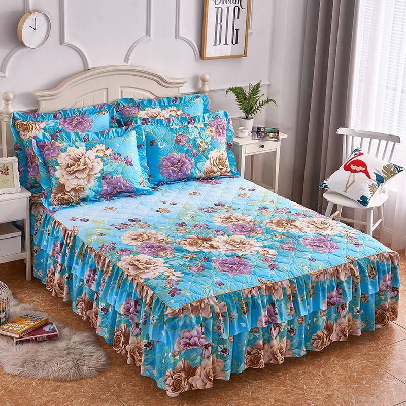 2/3Pieces Bloom Flowers Printed Queen/Full/Twin Size Lightweight Microfiber Quilted Coverlet Ruffled Bedskirt For All Season