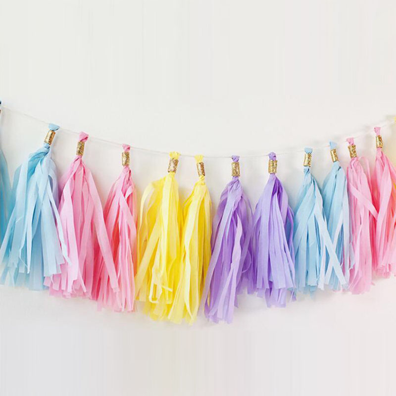 5pcs/lot 14inch Tissue Paper Tassels Garland For Wedding Baby Shower Decoration DIY Birthday Party Event Party Supplies Dropship