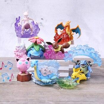 Kawaii Mewtwo Eevee Jigglypuff Charizard Venusaur Blastoise Lapras настольные фигурки мини игрушки куклы подарок 8 шт./компл.