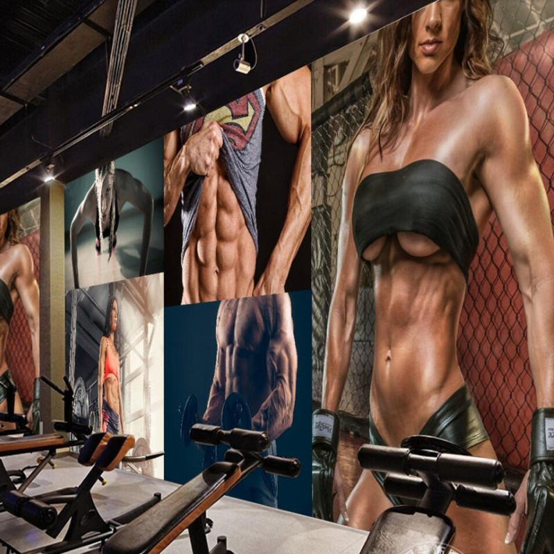beibehang papel de parede Gym <font><b>sexy</b></font> beauty muscle male gym <font><b>wall</b></font> custom large mural green wallpaper papel de parede para quarto image