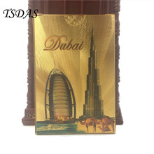 High Quality 24k Gold Poker Card With Colored Dubai Burj & Burj Al Arab Hotel Design, Gold Playing Cards Novelty Gift(China)