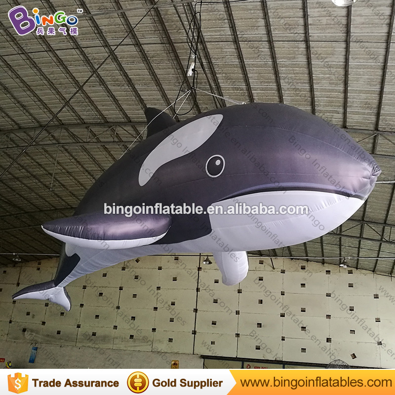 Lovely 5m inflatable killer whale model for Ocean theme decoration hanging blow up fish whale balloon for party display toys 5m 16ft summer inflatable killer whale replica inflatable fish inflatable amusement ocean toy with free blower outdoor toy