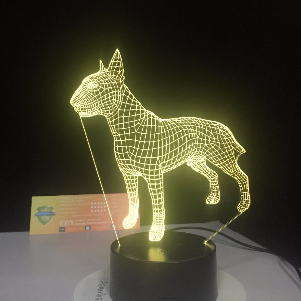 Bull Terrier Dog 3D Lampen 7 Color USB Night Lamp LED For Kids Birthday Creative Bedside Decor Gift Support Free Dropshipping