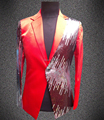 Plus size blazer male set the groom suit half-length paillette sequins wear costume singer dancer DJ nightclub show jacket coat