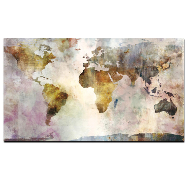 Abstract 3d World Map Canvas Painting Classical World Map Print On