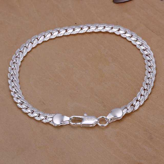 Kiteal Silver Gold Color Bracelet Fashion Jewelry 5mm 20cm Snake Flat Male Chain Armband