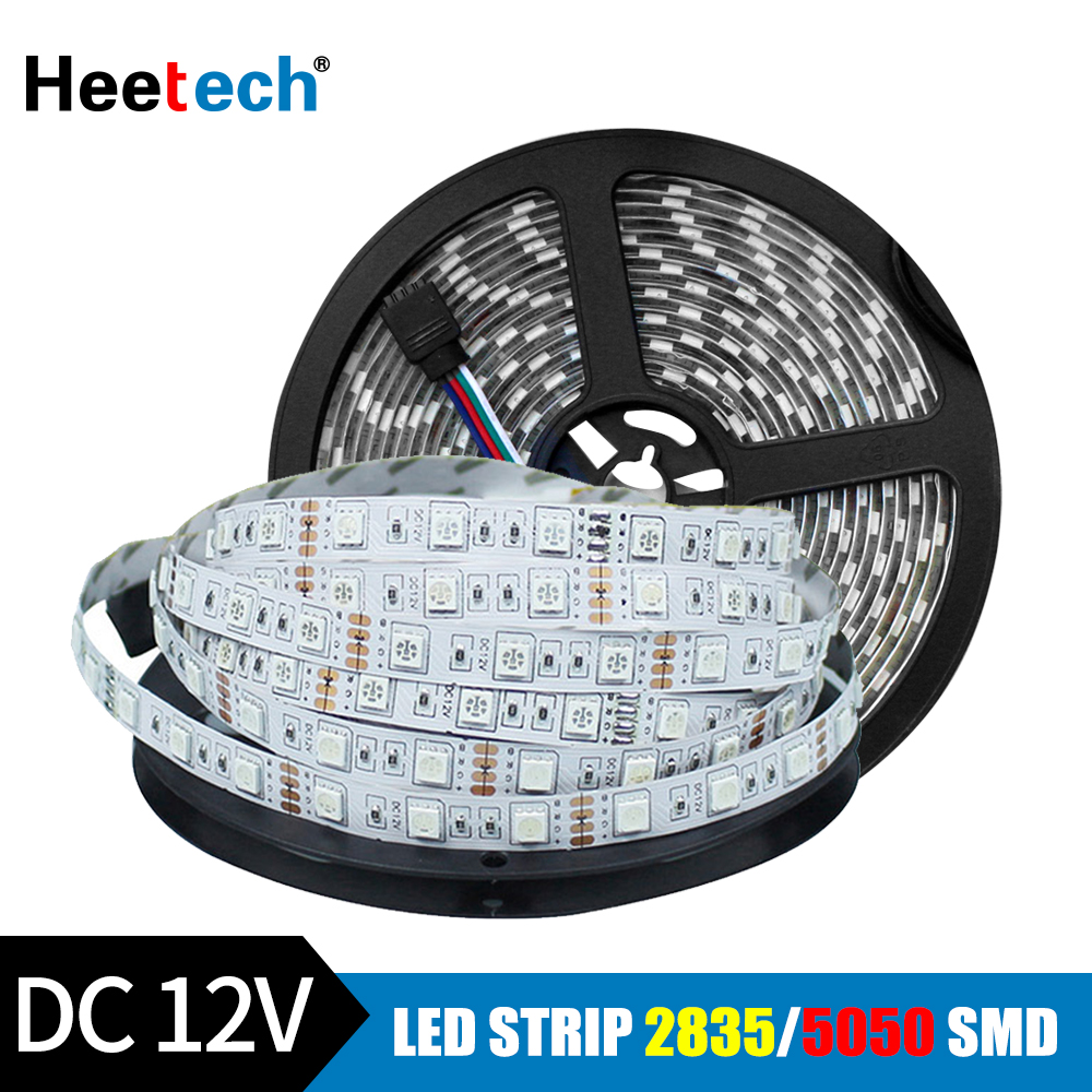 RGB LED Strip Light 12V DC Waterproof LED Light 5M 300Leds 5050 2835 Flexible Diode Ribbon Tape LED Stripe Lighting Warm White