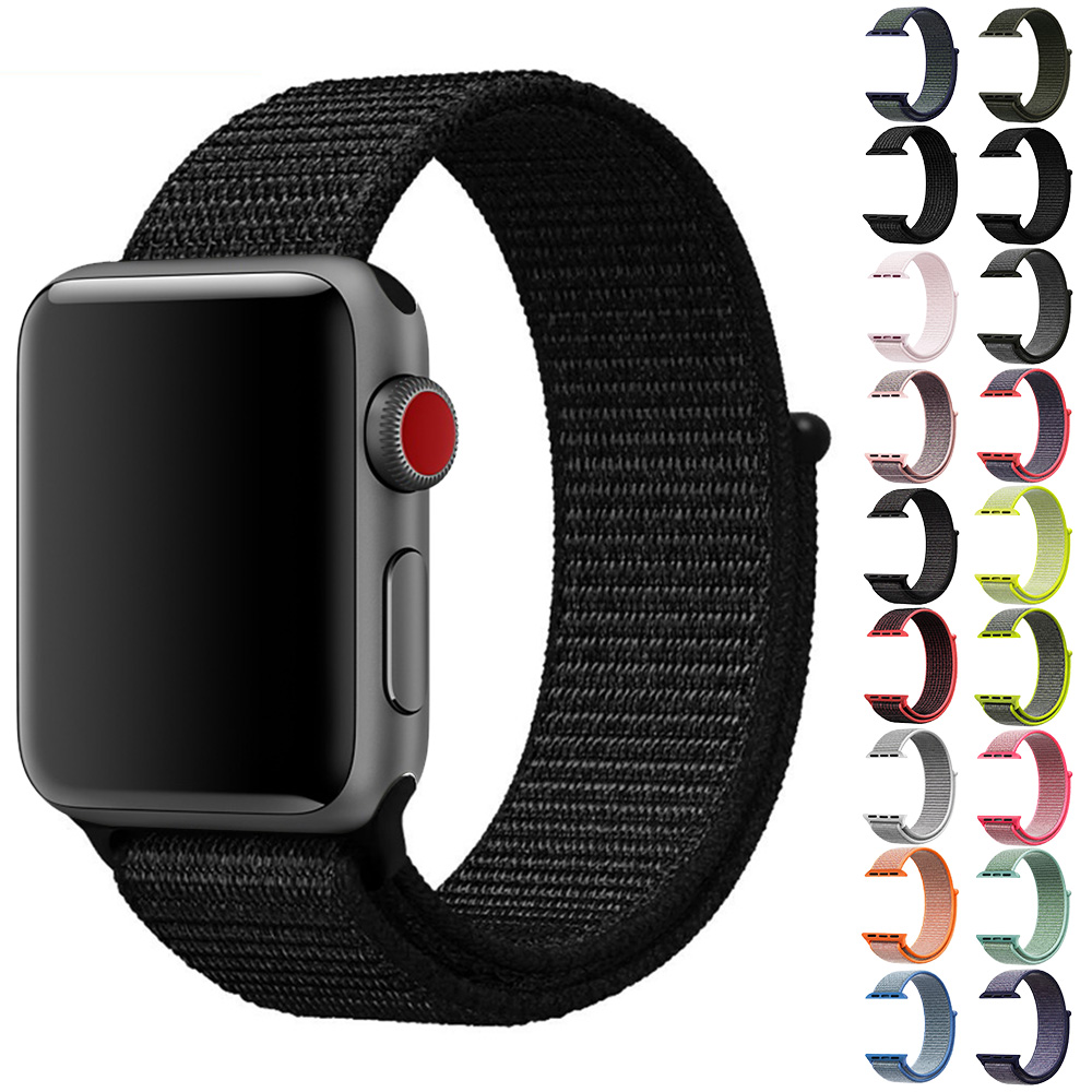 Velcro sport woven nylon loop strap for apple watch 38mm 42mm band wrist braclet replacement nylon band for iwatch series 1/2/3 ems hips trainer