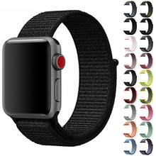цена на Velcro sport woven nylon loop strap for apple watch 44mm 40mm 38mm 42mm band wrist braclet replacement iwatch series 5 4 3 2 1