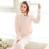 JINUO new design cute rabbit pajamas with long ears loose wait woman winter thick fleece pyjamas autumn nightgown sleepwear