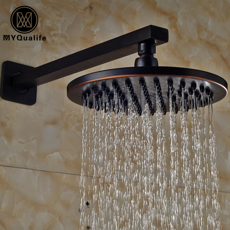 Oil Rubbed Bronze Brass Wall Mount 8 Rainfall Shower Head Bathroom Top Shower Head with Shower Arm led 10 rainfall oil rubbed bronze shower head round top sprayer w wall mount shower arm