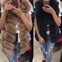 ETHEL ANDERSON Real Fox Fur Gilet FREE SHIPPING Fashion Natural Fox Fur Long Vest Winter High Quality Women's Fox
