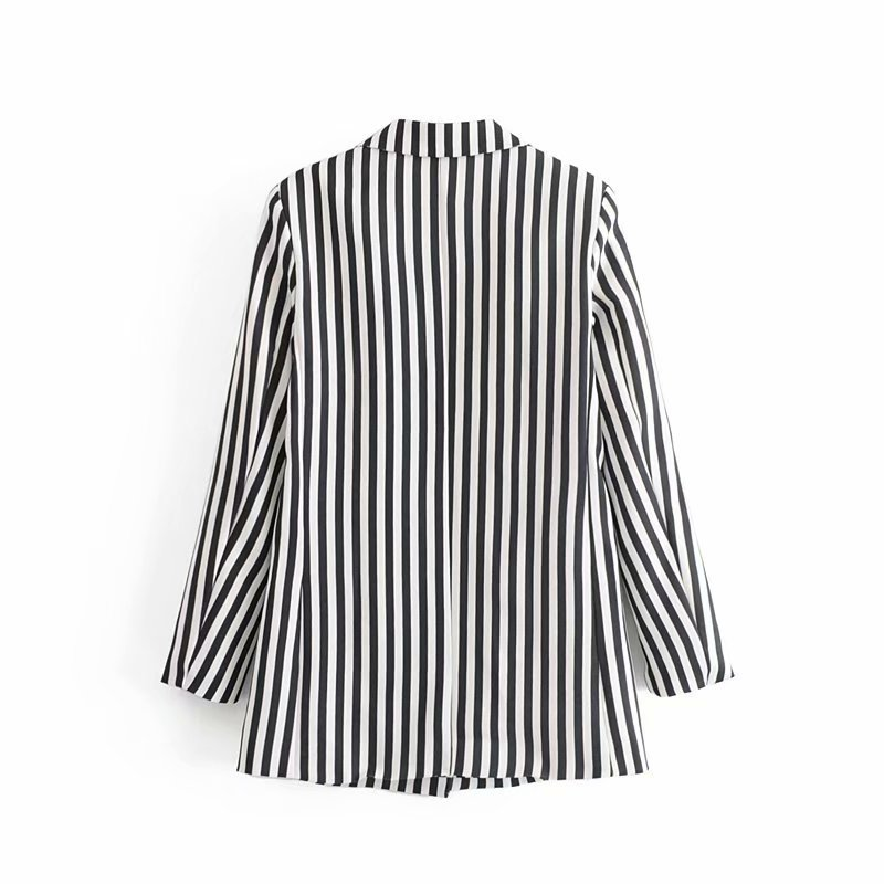 GOPLUS Office Lady Casual Blazer 2019 Spring Slim Black And White Striped Notched Women Blazers Ladies Pockets Tops Outerwear