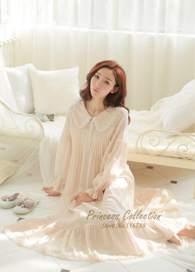 Free Shipping 100% Cotton Princess White Long Pyjamas Pink Nightgown  Women s Sleepwear Ladies pijamas femininos-in Nightgowns   Sleepshirts from  Underwear ... ccbb34444